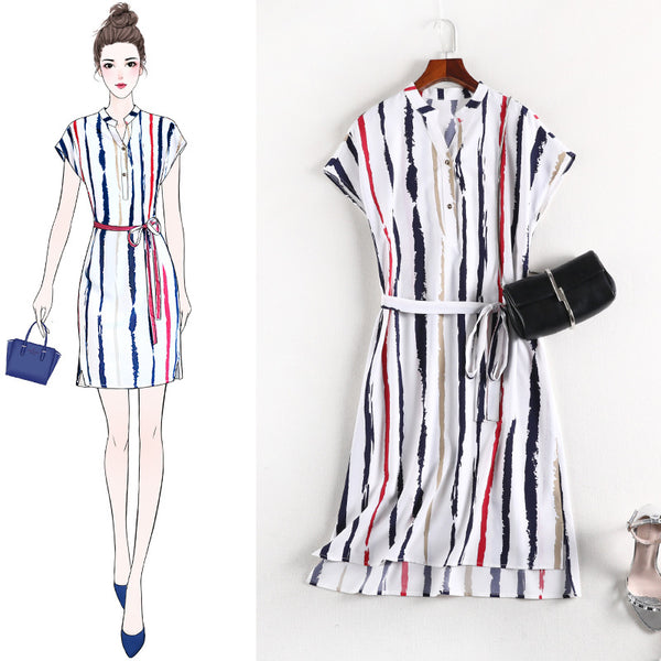 Relise White Longer Back Stripe S/S Dress