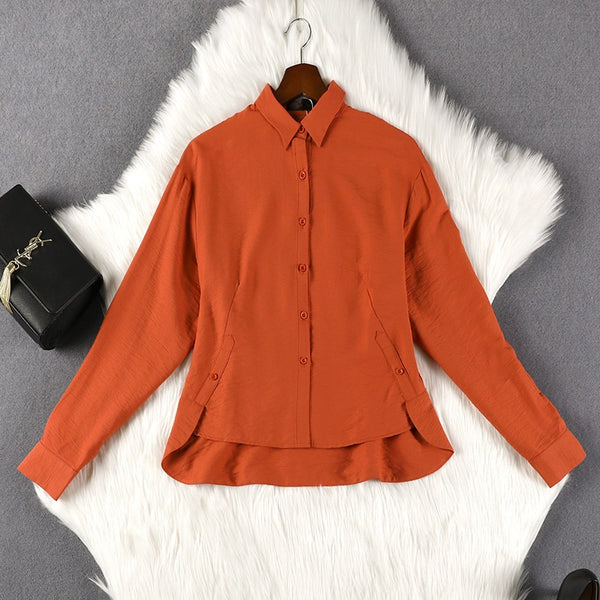 Suka Orange Buttons Pleat Back Long Sleeve Shirt Blouse