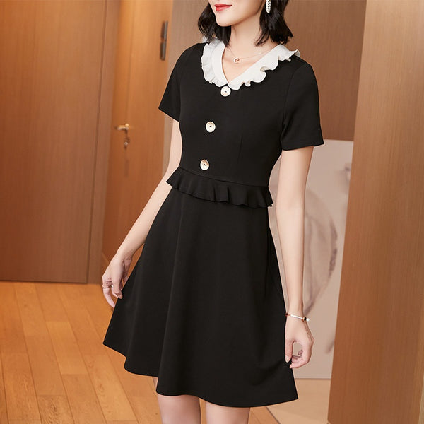 Amarante Plus Size Black Chanel-Esque Buttons Short Sleeve  Dress