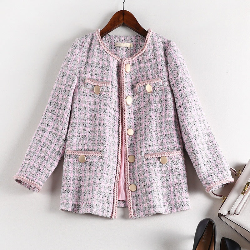 Sille Pink Plus Size Tweed Blazer Jacket