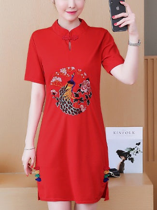 Leticia Plus Size Embroidered Modern Cheongsam