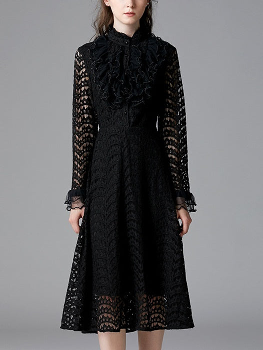 Shriya Black Frill Lace Collar Bell Sleeve L/S Midi Dress