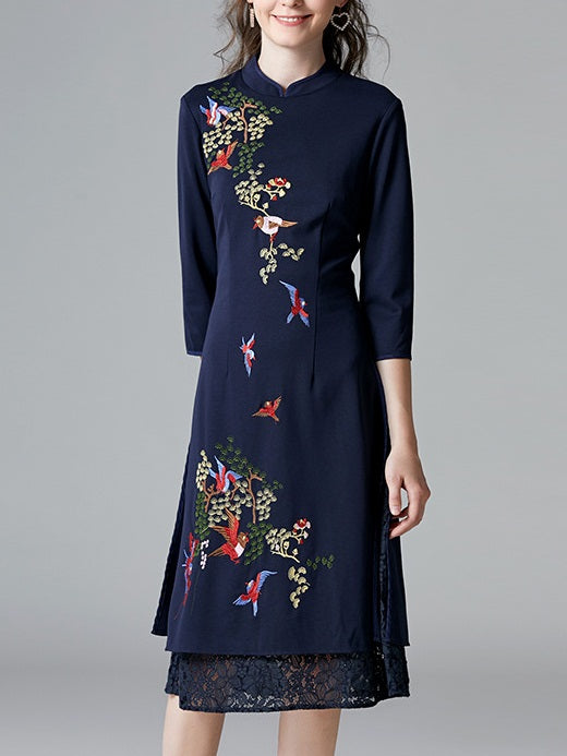 Shterna Birds and Branches Embroidery Qipao Cheongsam Mid Sleeve Midi Dress