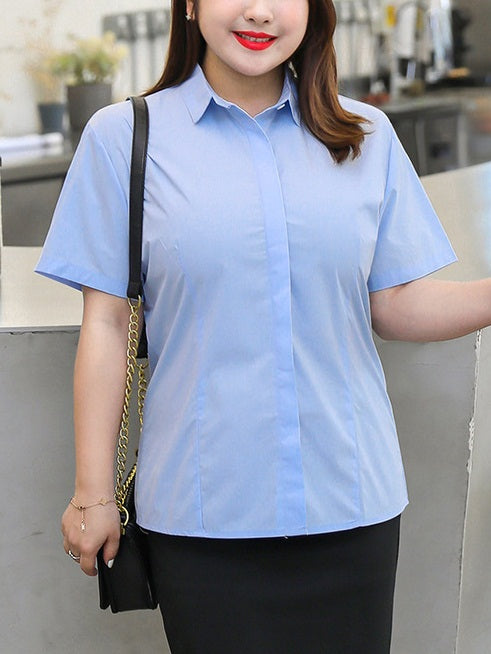 Ellene Plus Size Work Shirt Short Sleeve Top (White, Blue)