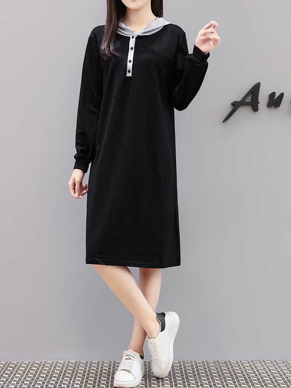 Vannessa Plus Size Hoody Buttons Long Sleeve Dress