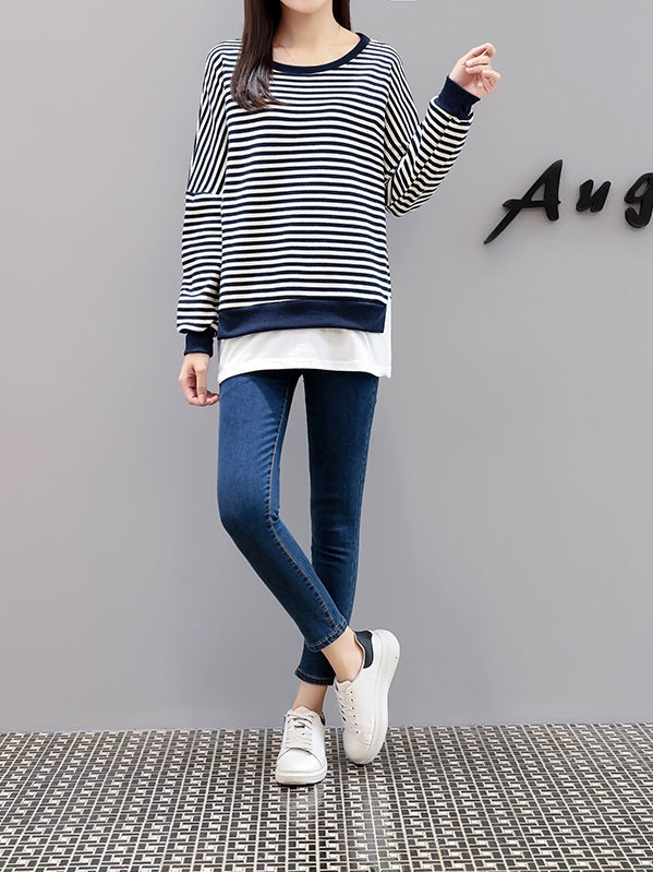 Vannie Plus Size Blue Stripes Layer Long Sleeve Top