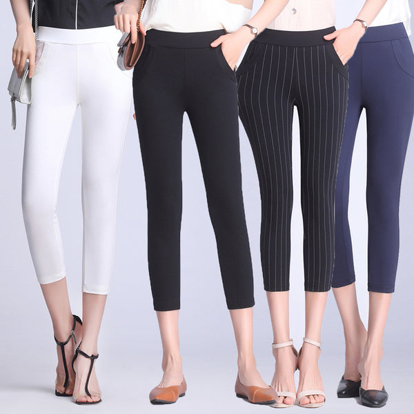 Luelle Skinny Stretch Capri Pants (Black, Blue, Stripe, White)