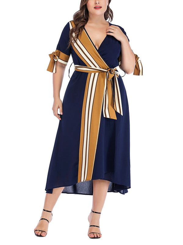 Maeve Brown Stripe Blue Wrap V Neck Midi Dress (EXTRA BIG SIZE)