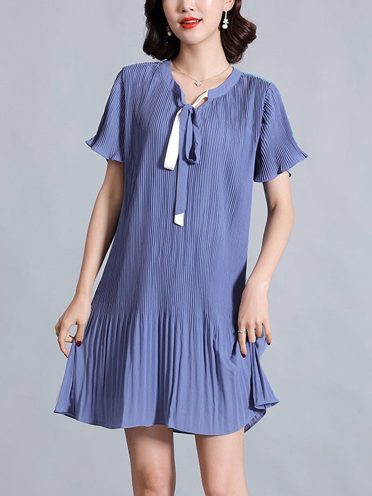 Raakel Blue and White Ribbon Pleat Bell Sleeve S/S Dress