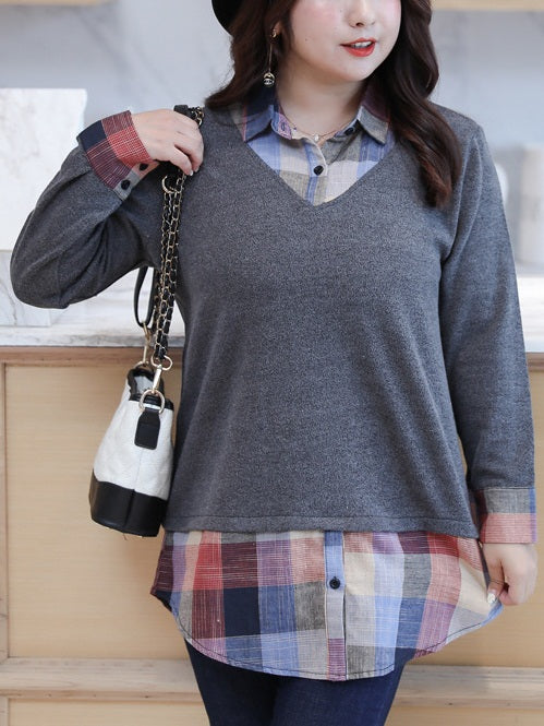 (Bust up to 150CM) Skylynn Checks Layer L/S Office Shirt Blouse (EXTRA BIG SIZE) (Grey, Black)