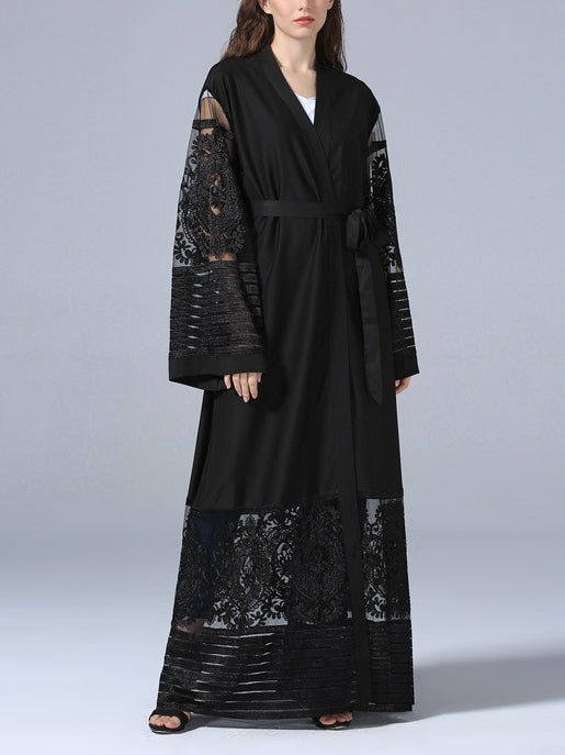 (S-2XL) Ghita Intricate Lace Muslimah Kimono Maxi Jacket / Dress