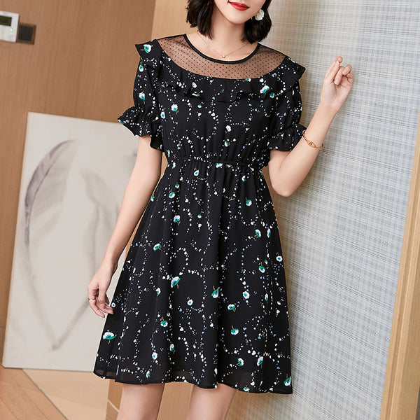 Amarilis Plus Size Polka Dots Mesh And Floral Prtin Frills  Short Sleeve Dress
