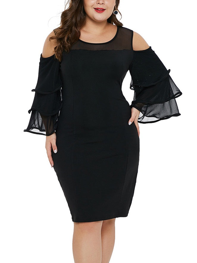 Soriah Plus Size Office Work Dinner Occasion Prom Formal Wedding Dress Bodycon Black Off Shoulder Frills Sleeve With Sleeves Mid Sleeve Dress (EXTRA BIG SIZE) Made of Polyester Fabric