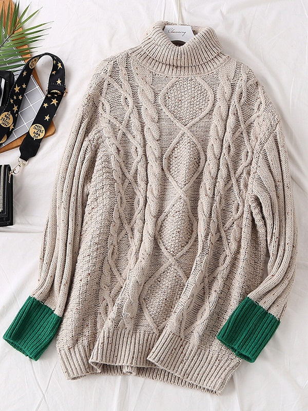 Stefka Plus Size Women's Winter Sweater Long Sleeve Top Thick Turtleneck Cableknit Cream