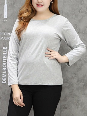 Tabata Plus Size Basic | Casual | Lounge | Layering U Neck Long Sleeve T Shirt Top (Black, Grey, White) (EXTRA BIG SIZE)