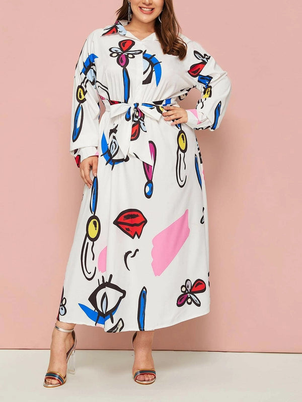 Tatyanah Plus Size White Art Graphic Print Long Sleeve Maxi Shirt Dress (Suitable For Muslimah / Muslim Wear) (EXTRA BIG SIZE)