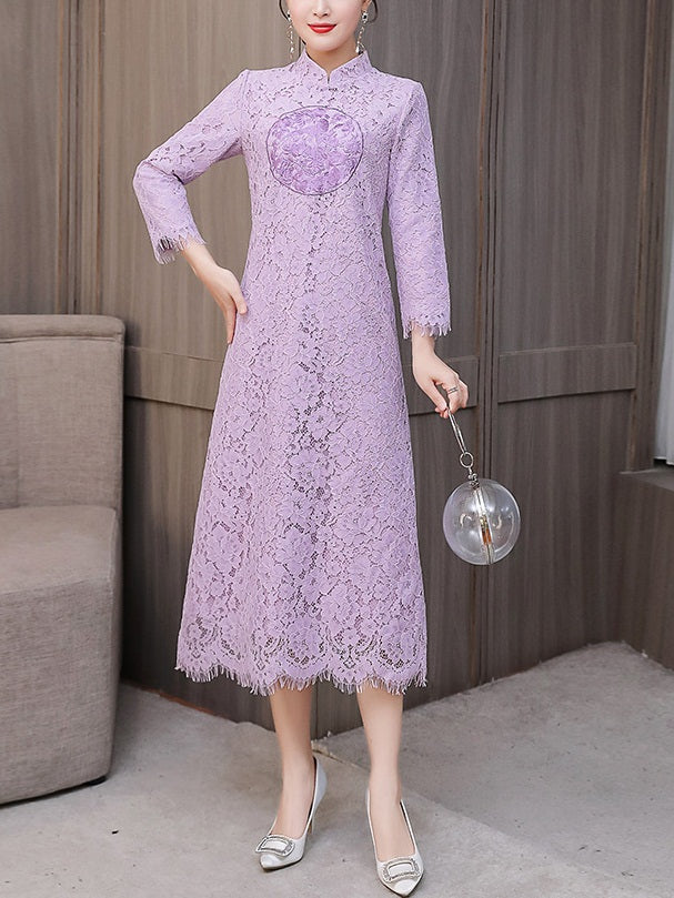 Tegwen Plus Size Cheongsam Qipao Modern Eyelash Lace Mid Sleeve Midi Dress (Suitable For Chinese New Year, Office) (White, Purple)