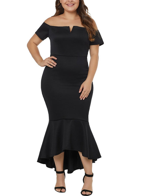 Sorrel Plus Size Dinner Occasion Prom Formal Wedding Evening Dress Sexy V Neck Off Shoulder Bodycon Fishtail Mermaid With Sleeves Short Sleeve Midi Dress (Black, Blue) (EXTRA BIG SIZE)