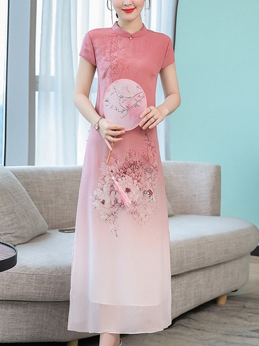 Tehani Plus Size Cheongsam Qipao Pink Chinese Oriental Floral Print Short Sleeve Midi Dress (Suitable For Chinese New Year, Office)