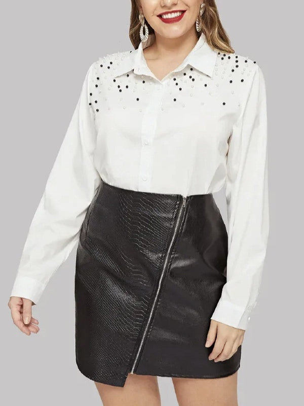 Tauriel Plus Size White Long Sleeve Pearl Studded Long Sleeve Shirt Blouse (EXTRA BIG SIZE)