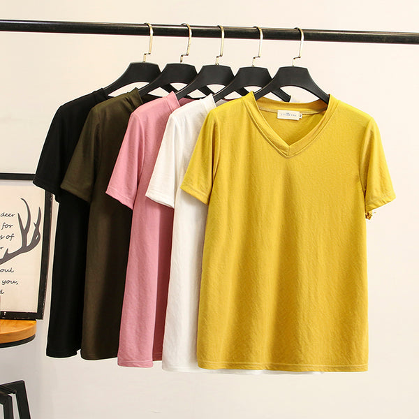 Zarah Plus Size V Neck Short Sleeve T Shirt Top (Black, Army Green, Red, Pink, White, Yellow)