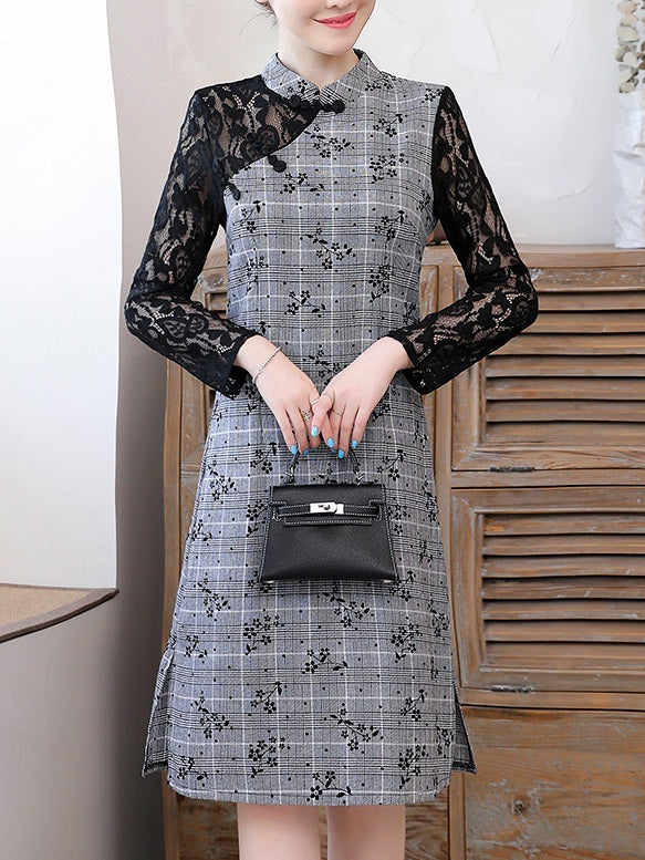 TRUE Plus Size Grey Floral And Checks Print Lace Cheongsam Qipao Straight Long Sleeve Dress (Suitable For Casual, Chinese New Year, Office And Weekends)