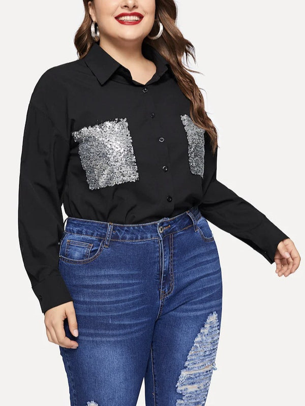 Tausha Plus Size Silver Sequins Pockets Long Sleeve Shirt Blouse (EXTRA BIG SIZE)