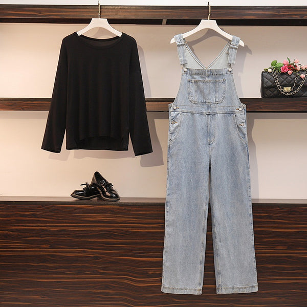 Zoriana Plus Size Long Sleeve T Shirt Top And Denim Jumpsuit Dungarees Set