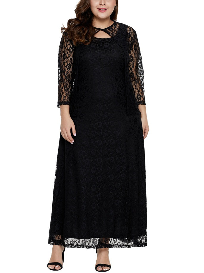Sose Plus Size Dinner Occasion Prom Formal Wedding Mother of The Bride Evening Dress Gown Black Lace Cover Jacket Mid Sleeve Maxi Dress (EXTRA BIG SIZE)