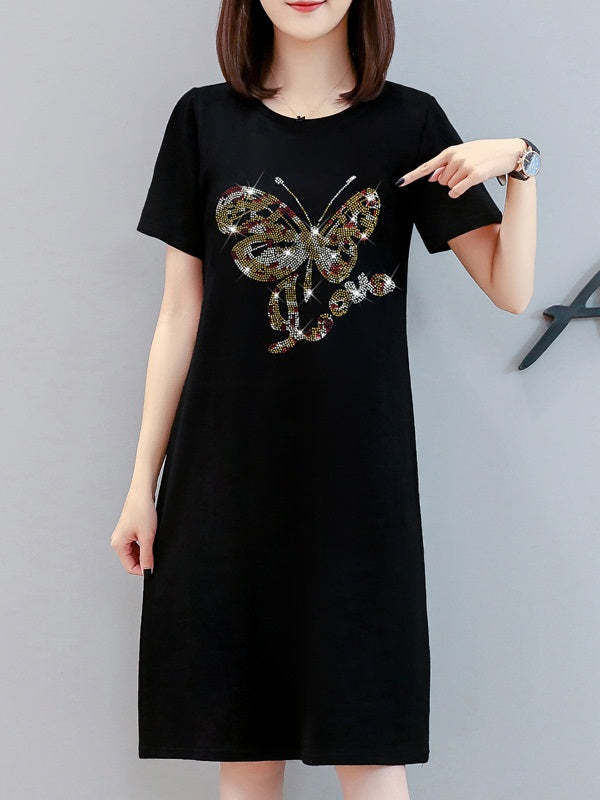 Varsnie Plus Size Black Embellished Butterfly Short Sleeve T Shirt Dress