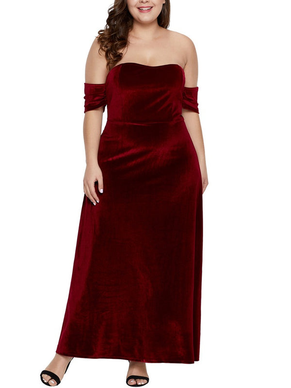 Sosie Plus Size Dinner Occasion Prom Formal Wedding Evening Dress Sexy Red Velvet Off Shoulder Sweetheart With Sleeves Short Sleeve Maxi Dress (EXTRA BIG SIZE)