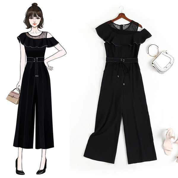 Eulalie Plus Size Black Off Shoulder Jumpsuit Romper