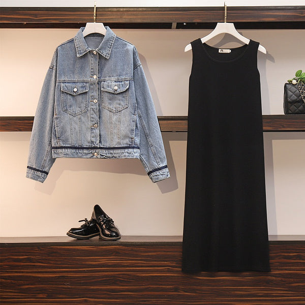 Zorica Plus Size Denim Jacket And Tank Sleeveless Midi Dress