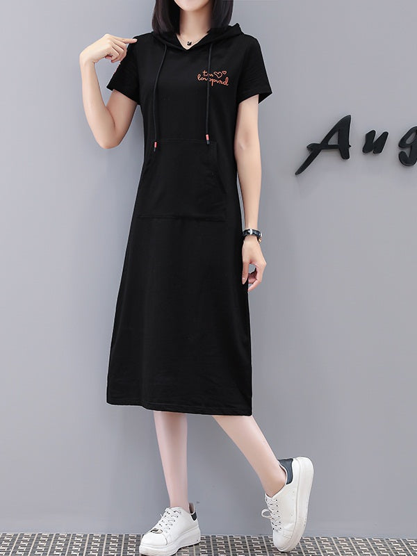 Varvara Plus Size Cotton Hearts Embroidery Black Kangaroo Pocket Hoody Short Sleeve Midi Dress