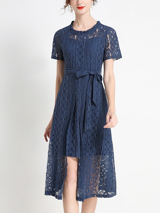 Kaatje Plus Size Blue Lace Midi Dress