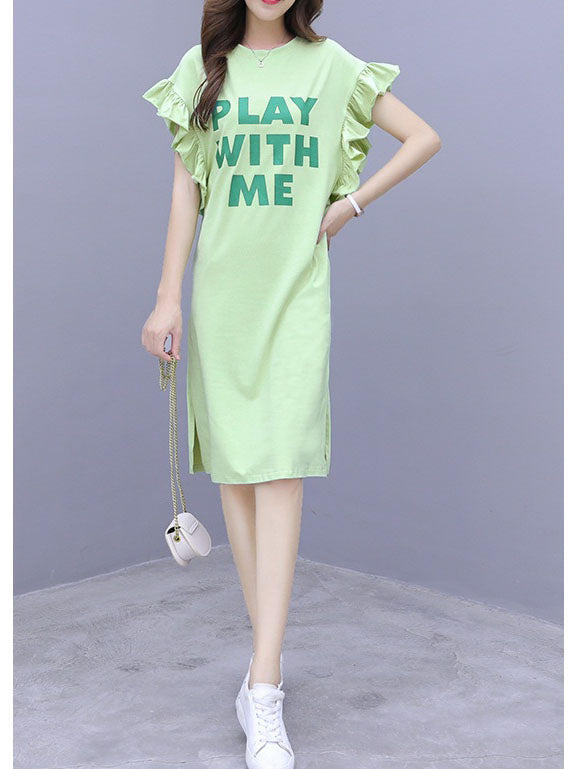 Vasantha Plus Size Play Frills Green Side Slit Short Sleeve T Shirt Dress