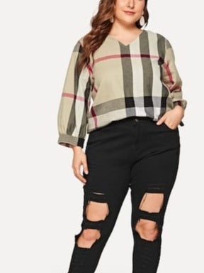 Tavia Plus Size Khaki Plaid Mid Sleeve Blouse (EXTRA BIG SIZE)