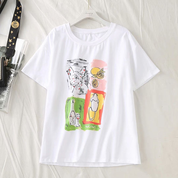Kandi Plus Size Cat Short Sleeve T Shirt Top (EXTRA BIG SIZE)