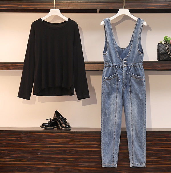 Zorka Plus Size Black Long Sleeve T Shirt Top And Denim Jumpsuit Dungarees Set
