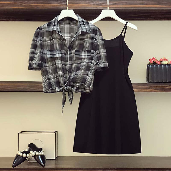 Jean Plus Size Camisole Dress And Checked Shirt Blouse Set
