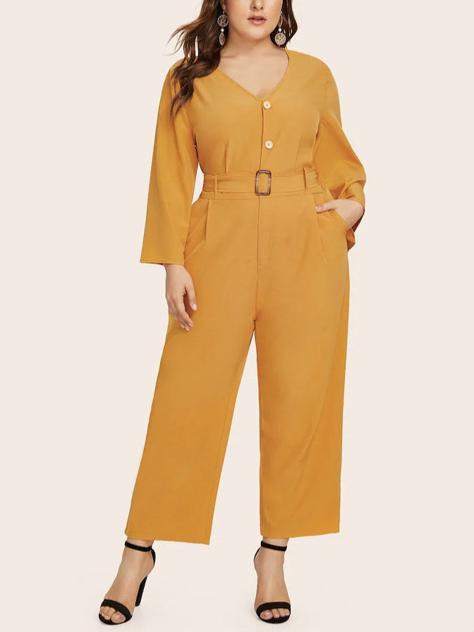 Tavora Plus Size Yellow V Neck Buttons Belted Pockets Romper Jumpsuit (EXTRA BIG SIZE)