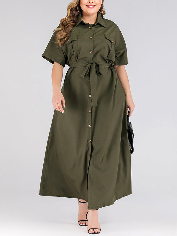 Tarja Plus Size Green Utility Long Length Short Sleeve Maxi Shirt Dress (Suitable For Chinese New Year) (EXTRA BIG SIZE)