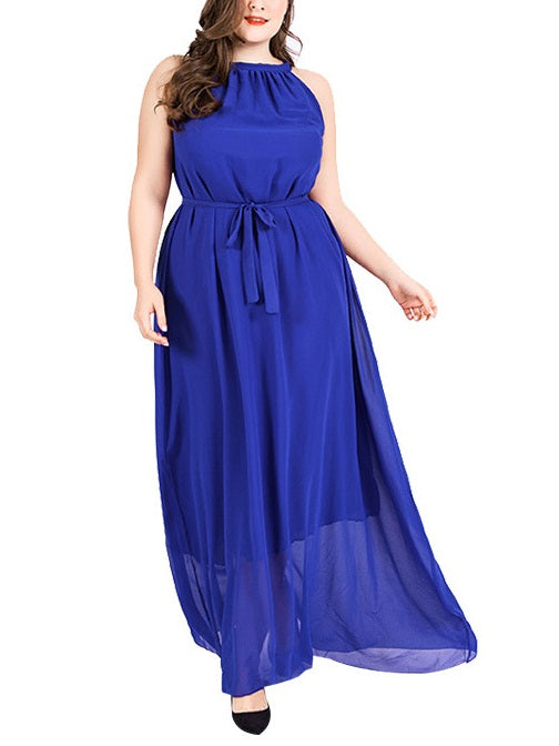 Shiraz Halter Neck Sleeveless Maxi Dress (Blue, Black) (EXTRA BIG SIZE)