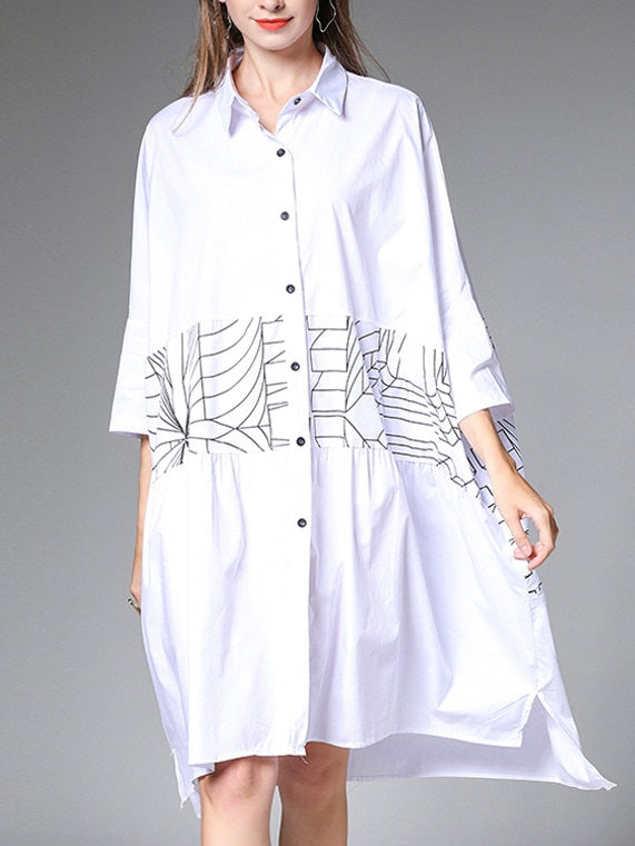 Satwant Shapes Bar Oversized Mid Sleeve Shirt Dress (EXTRA BIG SIZE) (White, Black)