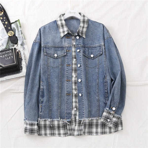 Kirra Plus Size Checked Layer Denim Jacket