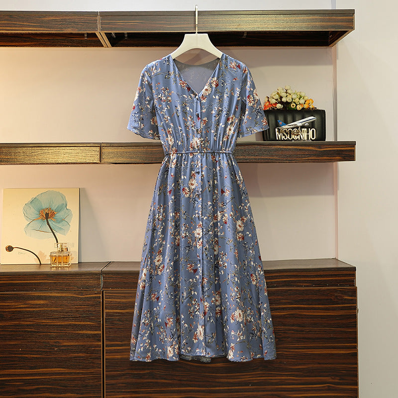 (Special Price!) Floral V Neck Button Down S/S Midi Dress