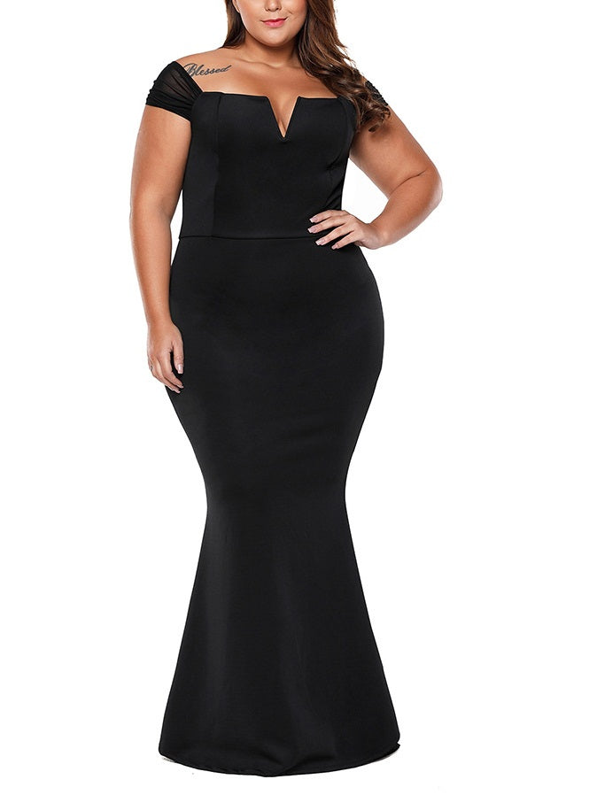 Sovannah Plus Size Dinner Occasion Prom Formal Wedding Red Carpet Evening Dress Gown Elegant Sexy Black V Neck Bodycon Fishtail Mermaid With Sleeves Short Sleeve Maxi Dress (EXTRA BIG SIZE)
