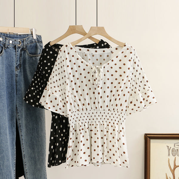 Kharlia Plus Size Polka Dots Short Sleeve Blouse
