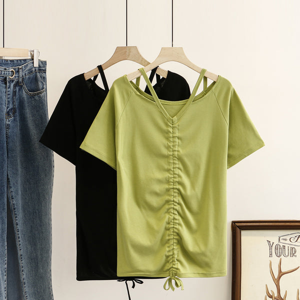 Kharlie Plus Size Choker Gathered Short Sleeve Top