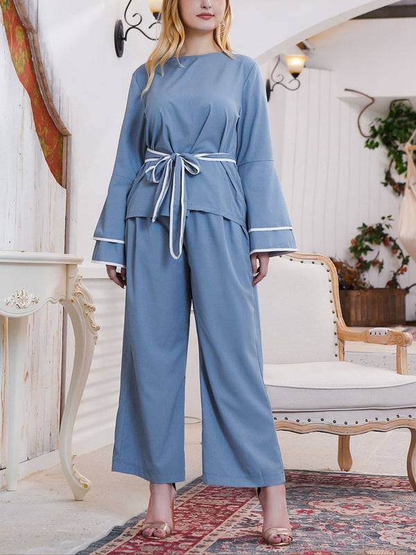 Tawana Plus Size Blue Tier Sleeve Waist Tie Long Sleeve Blouse And Wide Leg Pants Set (Also Suitable As Muslimah / Muslim Clothing) (EXTRA BIG SIZE)
